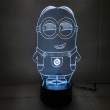 Free Shipping 1 piece Multi Color USB charge 3D Cartoon Despicable Me Minions LED light with 3D luminaria night lamp