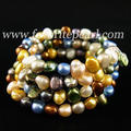 Wedding Pearl Jewelry - Triple Row 7-8mm Mixes Color Natural Freshwater Pearl Bracelet - Free Shipping