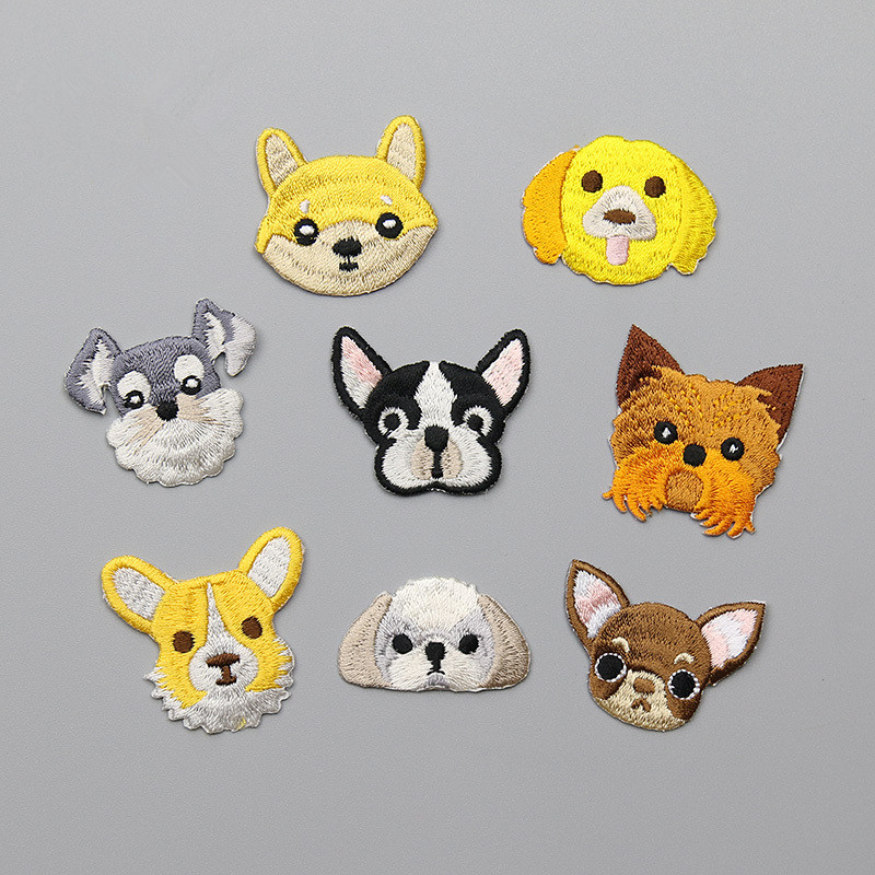 1PCS Small Cute Dog Head Patches for Kids Clothing with Adhesive Glue Iron On the Back Cartoon Chihuahua Patch