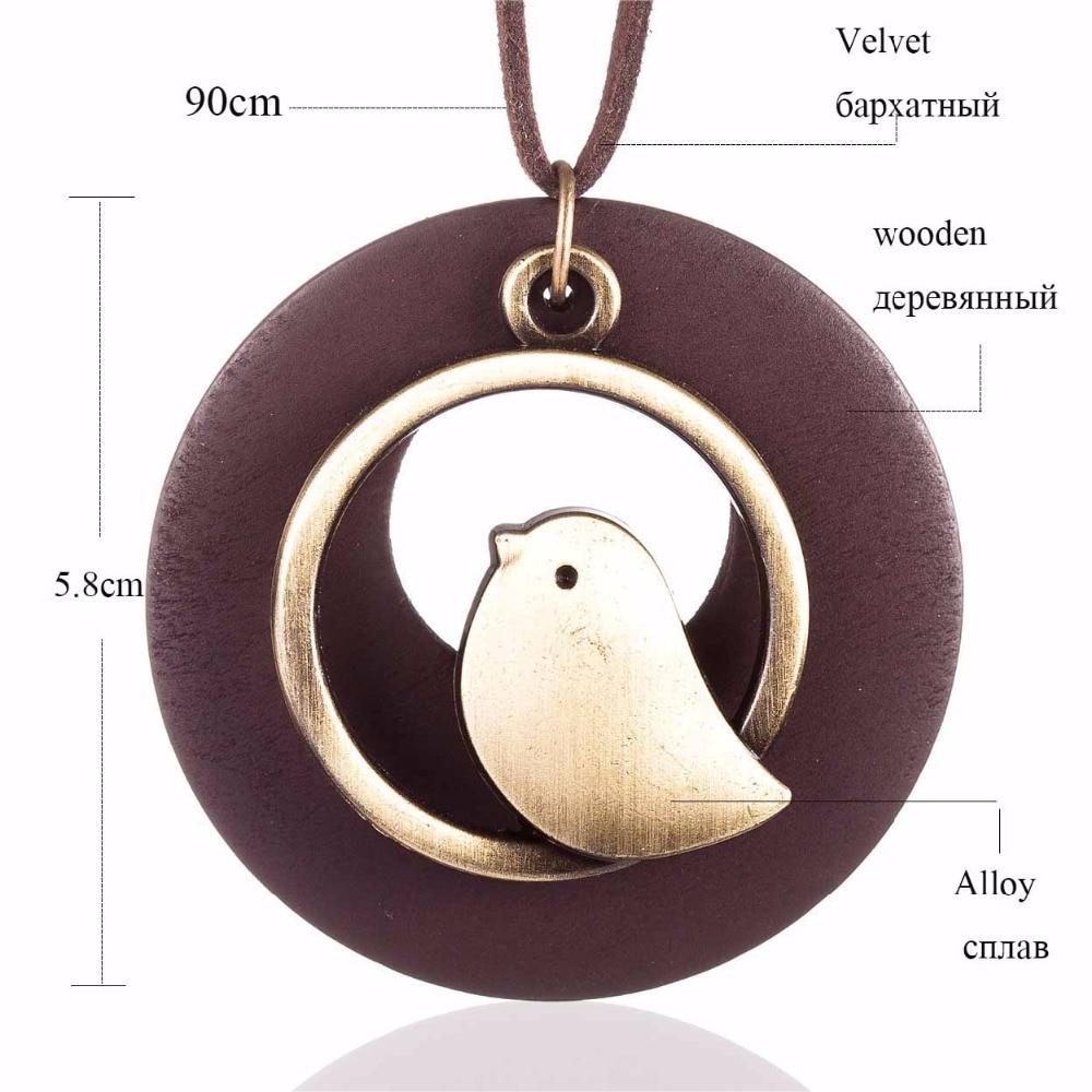 kvinna smycken uttalande halsband & berlocker, fågel trä pärla - Märkessmycken - Foto 6