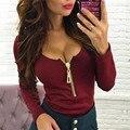 Новый Сексуальный Женщин Глубокий V Шеи Молния Футболка 2016 Осень тонкий Фитнес футболка Blusas С Длинным Рукавом Работает футболка Tee Shirt Femme