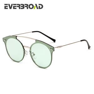 937fd5dbd7b EVERBROAD Green Round Sunglasses Color Big Brand Design