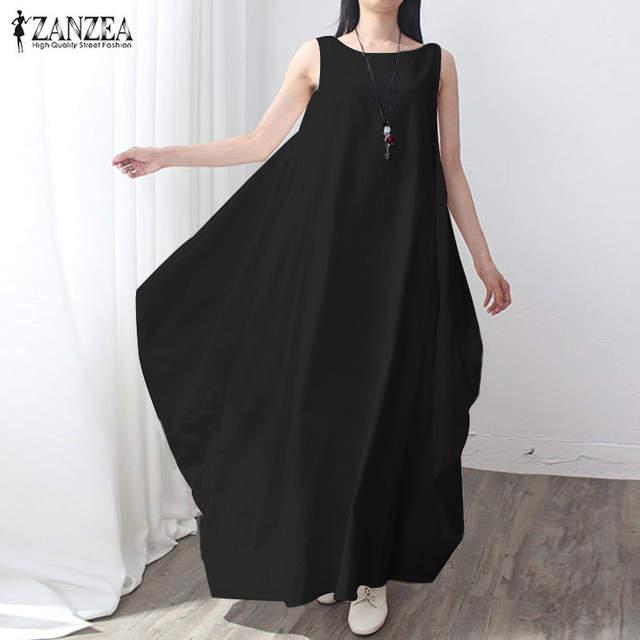 7ef998a87440 Online Shop ZANZEA Fashion 2019 Women Cotton Linen Kaftan Dress Casual  Sleeveless Loose Long Maxi Party Dresses Baggy Vestidos Plus Size |  Aliexpress Mobile