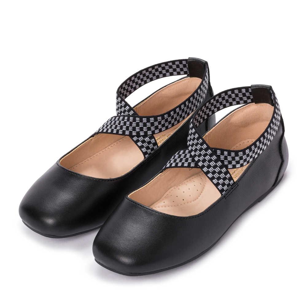 Balabala 2018 Trẻ Em Mới Giày Công Chúa Bé Gái Da Mềm Mại Thoáng Khí Vuông Mũi Giày Thiết Kế Giày Khiêu Vũ Trẻ Em Đầm Giày Cho Bé Gái