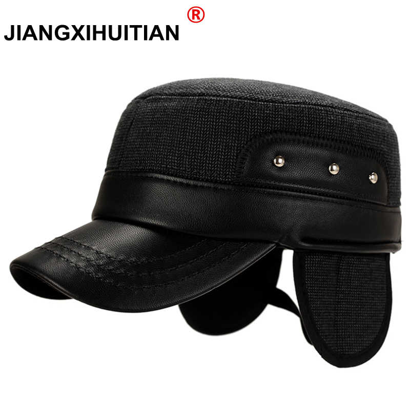 30f60881398 Detail Feedback Questions about 2018 Winter Super warm Leather Military Hat  with Ear Flaps Men Cap Bone Black Dad Hat Flat Caps on Aliexpress.com
