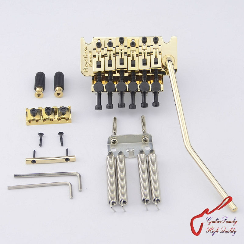 Genuine Original Floyd Rose Special Series Locking Tremolo System Bridge FRTS3000 Gold( without original package ) MADE IN KOREA genuine original floyd rose 5000 series electric guitar tremolo system bridge frt05000 black nickel cosmo without packaging