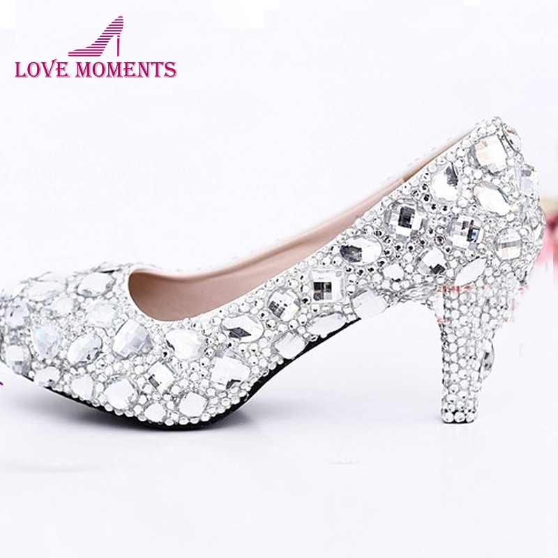 Sexy Crystal Wedding Dress Shoes 2 Inches Middle Heel Comfortable Bridal Shoes Silver Woman Party Prom Shoes Bridesmaid Shoes middle heel silver color wedding shoes glitter women comfortable party prom shoes plus size 43 in stock bridesmaid shoes