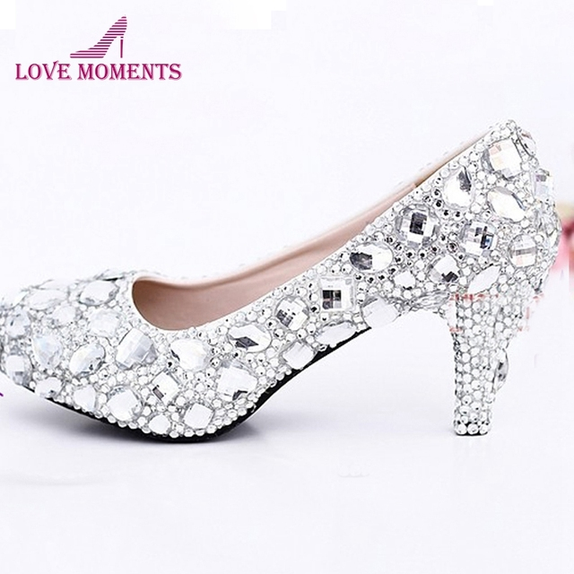 2c5750d0340 Sexy Crystal Wedding Dress Shoes 2 Inches Middle Heel Comfortable Bridal  Shoes Silver Woman Party Prom Shoes Bridesmaid Shoes