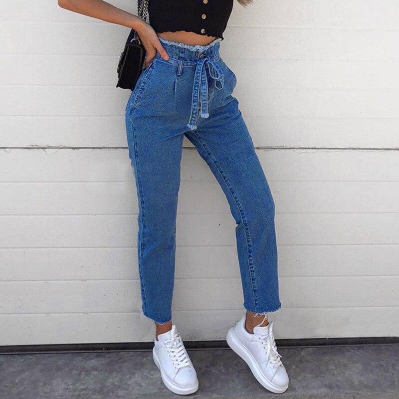 1 Pcs Women Lady Jeans Pants Trousers Denim High Waist Belt