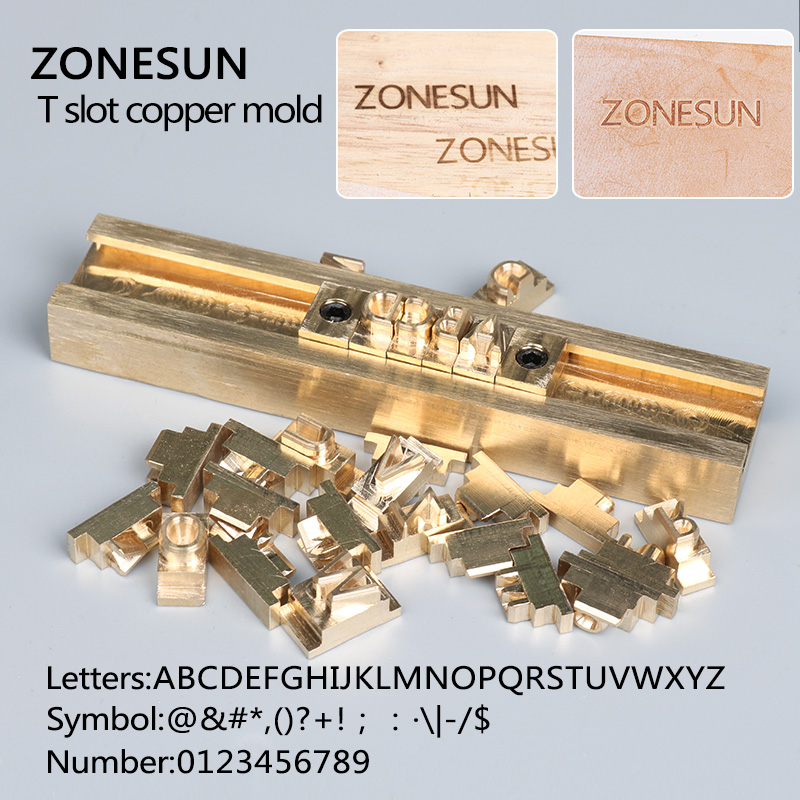 ZONESUN Tslot Brass letters die cut deboss mold hot foil stamp copper alphabet die cut set customization font Character mold set non standard die cut plastic combo cards die cut greeting card one big card with 3 mini key tag card