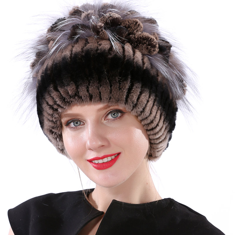 Rabbit Fur Hat for Women Winter Knitted Elastic Real Rex Rabbit Fur   Beanie   Cap Female with Flower Top Fur Hat