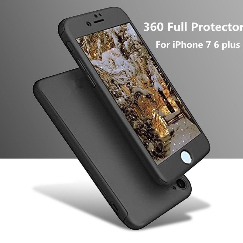 For Apple iPhone 7 6 6s Plus Luxury 360 Protection Mobile Phone Case Cover Coque +Nano Glass Protective iPhone6 iPhone7 Case