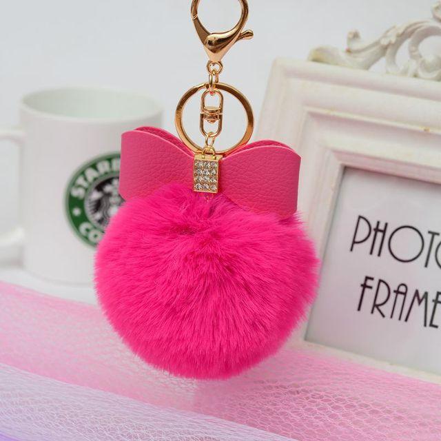 เกาหลีรุ่นสร้างสรรค์ Rex ลูกกระต่ายผมคริสตัล PU Bow Fur กระเป๋าจี้แฟชั่นพวงกุญแจรถ Keychain llavero Pompon