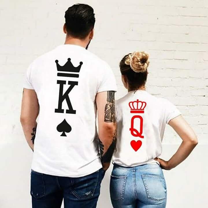 Moda Gráfico Rei Rainha Impressão de Poker Coração Do Tumblr Streetwear Tshirts Verão 2018 Casal Amante Dos Homens Das Mulheres de Manga Curta Casuais