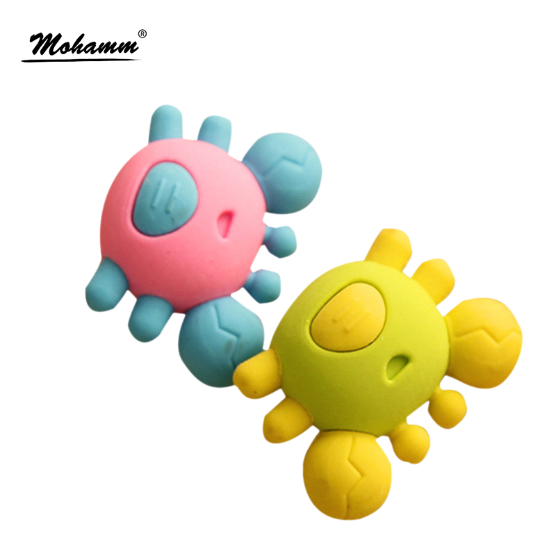1 Pcs 3d Kawaii Crab Cute Korean Stationery Pencil Eraser School Office Correction Supplies Erasers For Kids Student Gift