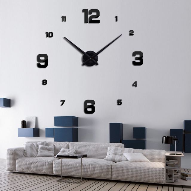 2016 new circular set living room 3d diy acrylic mirror wall clocks mute big clock quartz metal watch Needle real  free shipping