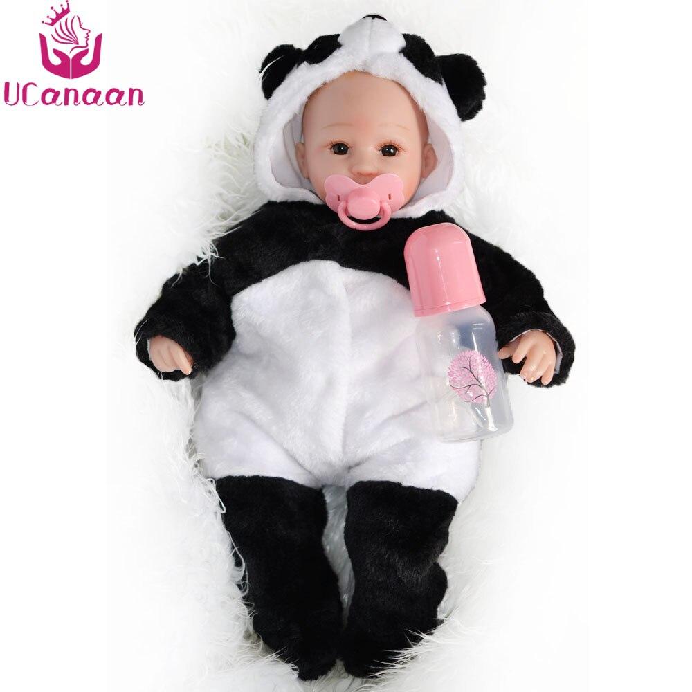ucanaan 18 inches silicone baby doll 45cm panda cloth body dolls