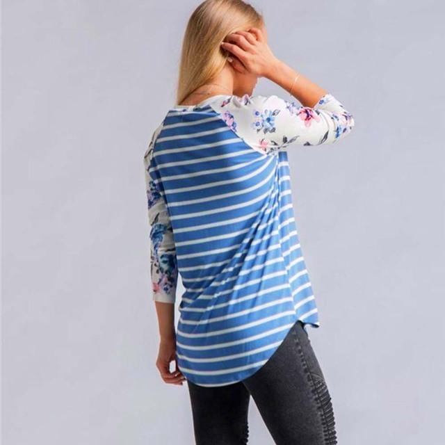 Striped T-shirt Long Sleeve Tops for Women 2