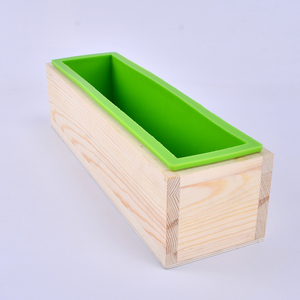 Image 3 - シリコーン石鹸型手作り石鹸作成ツールセット 4 木製カッティングボックスと 2 個ステンレス鋼カッター