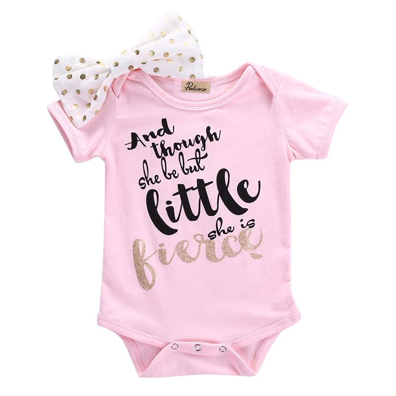 Cute Summer Romper Newborn Baby Girls Short Sleeve Romper Polka Dots Headband Lovely Girl Jumper One-pieces 0-18M