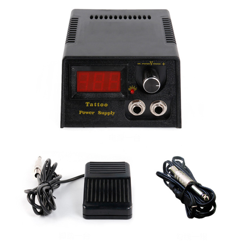ФОТО 2017 Tattoo Supplies 1Pcs Black LCD Display Digital Lion Head Tattoo Power Supply with footpedal clipcord for tattoo machines