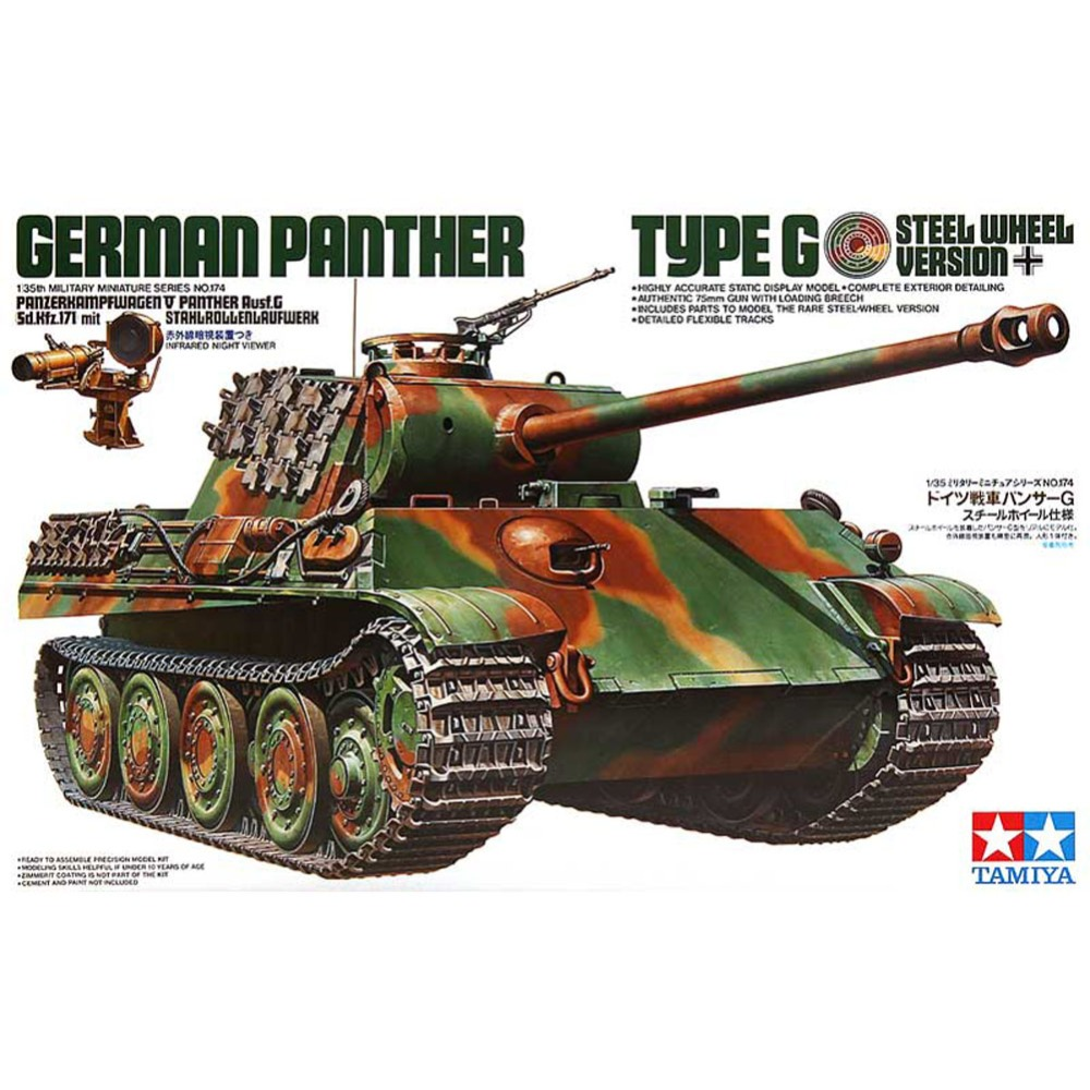 OHS Tamiya 35174 1/35 German Panther Type G Steel Wheel Version Sd Kfz171 Military Assembly AFV Model Building Kits G tobyfancy tamiya 1 35 ww2 german steyr type 1500a 01 military miniature ready to assembly model kit