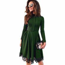 Hot 2017 Autumn Winter New Fashion Women Vintage Long Sleeve lace patchwork Slim Maxi Dresses Party Dresses plus size