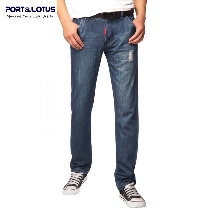Port Lotus Ripped Jeans Men With Zipper Fly Solid Color Midweight Straight Pants Slim Fit Jeans