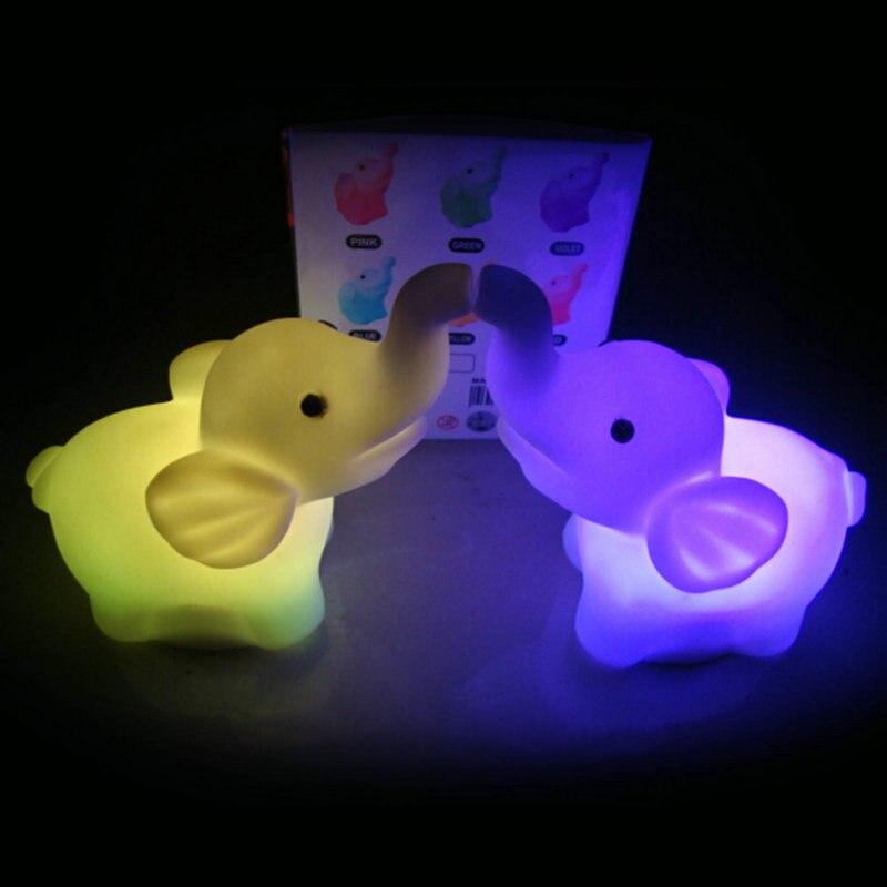 1 шт. изменение Цвет слон Форма Светодиодная лампа ночник с 3 шт. AG13 батарейки в комплекте