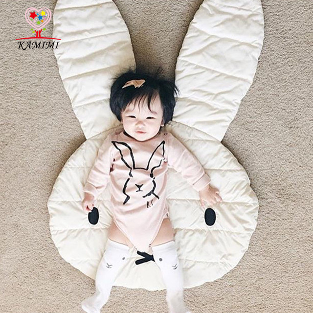 KAMIIMI Baby Game Mat Soft Cotton Rabbit Pattern Blanket Kids Game Mat Lovely Infant Baby Girl Room Decoration Game Blanket I028