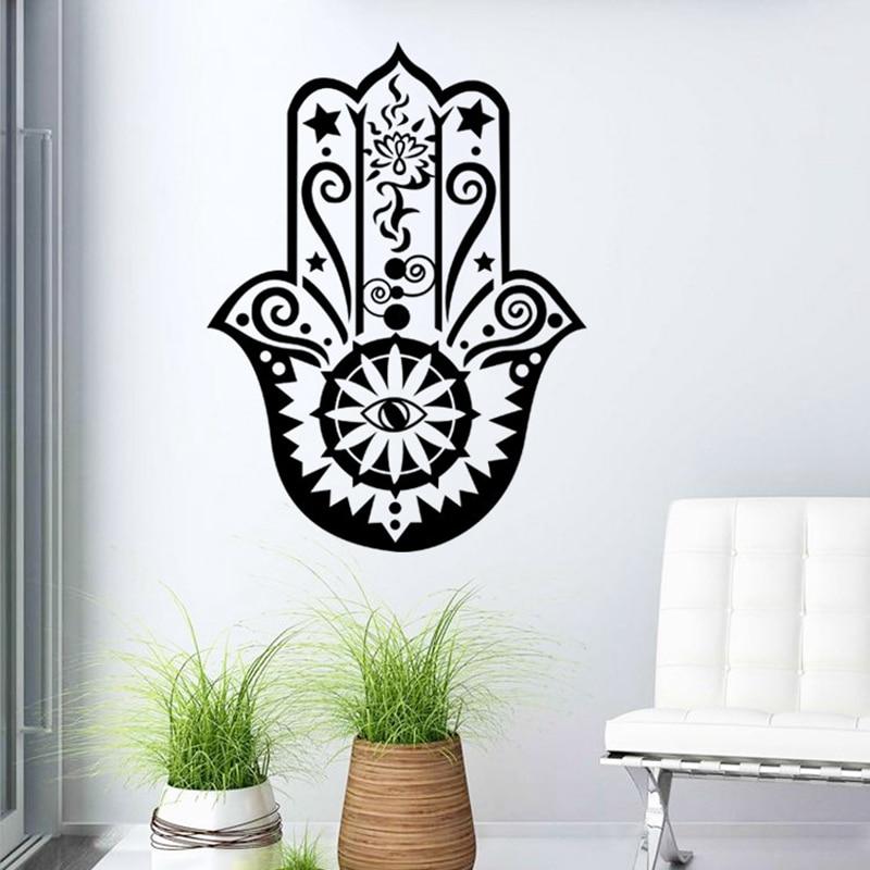 29cm * 39cm Hamsa ruční nástěnný decal Vinyl Fatima jóga Vibes Nástěnné samolepky rybí oční štítek Indický Buddha Lotus Pattern Art Home Decor