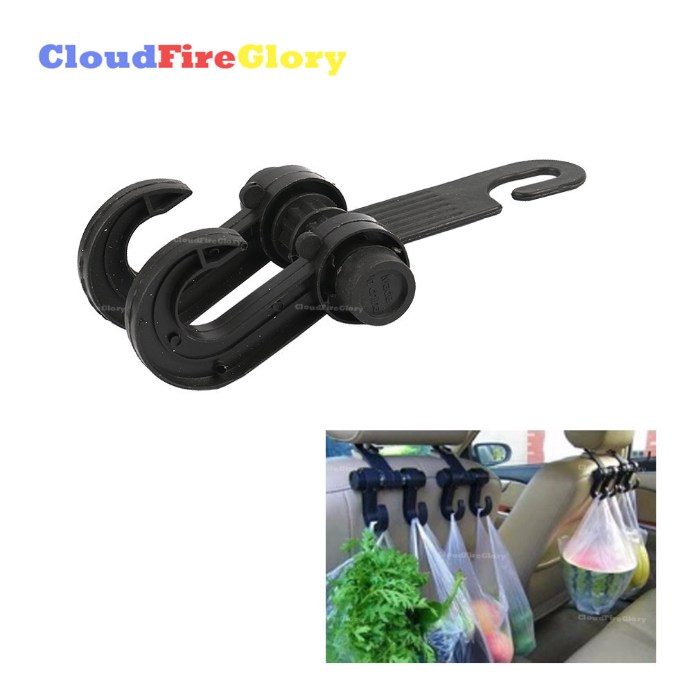 CloudFireGlory Auto Car Back Seat Headrest Hanger Holder Hooks Clips For Bag Purse Cloth Grocery Automobile Interior Accessories