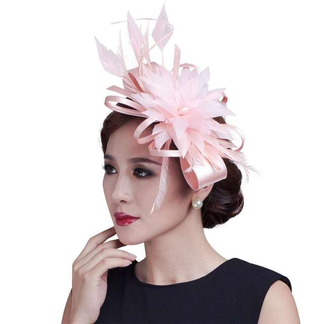 Online Shop 2018 women champagne ribbon Bow Fascinators sinamay and wedding  feather fascinator hats 7colors  fcd093a9a16