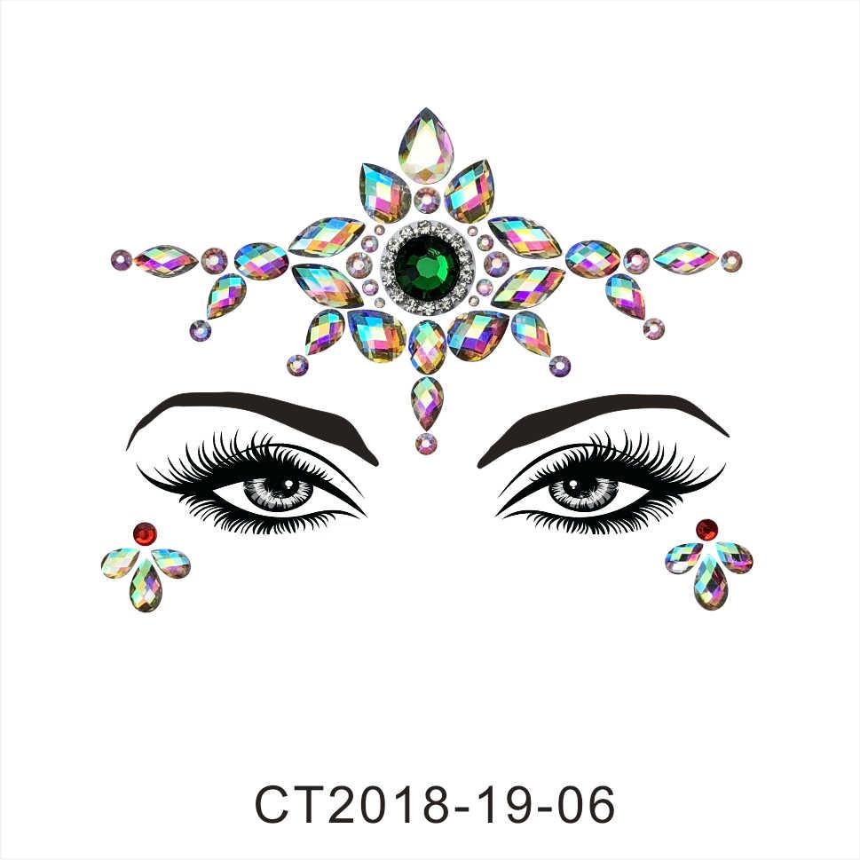 24 estilos de pegatinas adhesivas de cristal para la cara para fiesta de la frente de los ojos joyería Festival Bindi arte corporal tatuaje pegatinas herramienta de belleza