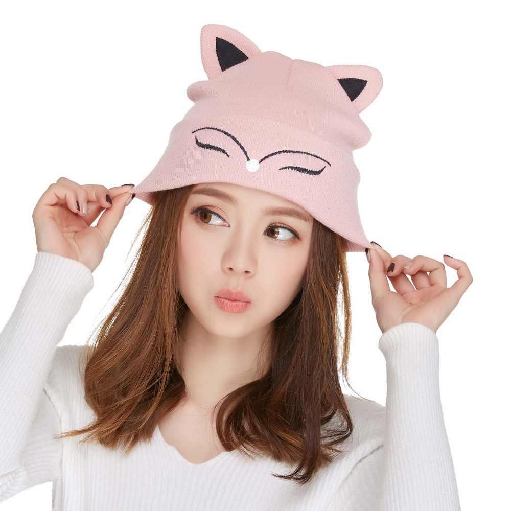 065f43f2 ... Kajeer Women's Hat Knitted Wool Winter Warm Beanie Pink Cute Fox Ears  Skulls Knit Hat Caps ...