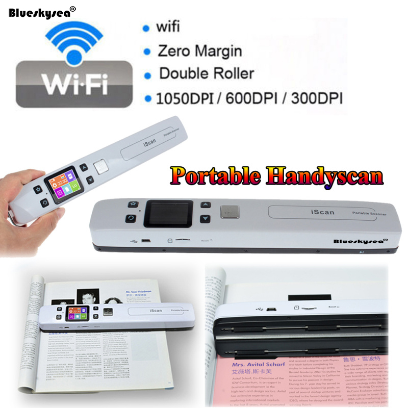 High Speed Wireless WIFI Portable Document Scanner 1050DPI Handheld USB Scanner A4 Paper Reader 900dpi mini handheld scanner a4 document scanner iscan01 blue