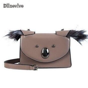 5af0b777c9e2 DIINOVIVO Koala lindo cadena mujer mensajero bolsas de piel sintética  pequeño remache solapa 2019 nueva bolsa de hombro de moda de las mujeres