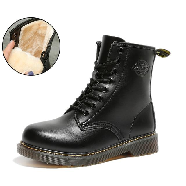 La MaxPa Martin Çizmeler Açık Çalışma çizmeler kadın ayakkabıları PU Deri Kış Kadın Botları Kış Su Geçirmez Ayak Bileği Ayakkabı Dantel Çizmeler