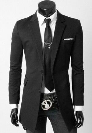 Новые Поступления мужская одежда бренда Белые полосы вставить две кнопки длинные участки куртка мужская Мода Slim Fit Костюм куртки