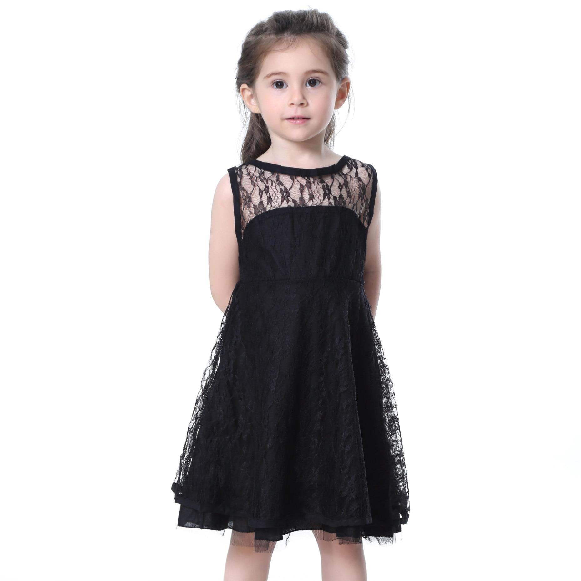 Black dress for baby girl - Fashion Baby Girls Black White Lace Dress Children Sleeveless A Line Princess Dress Summer Clothing