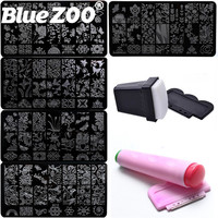 DIY Kit 5Pcs Steel Nail Art Stamp Plates Template 2 Sets Silicone Nail Stamper Scraper Manicure