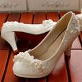 Women Pearl pumps wedding shoes Handmade lace white bridal shoes bridesmaid Pumps dress Bride shoes 3cm 5cm and 8cm High Hees