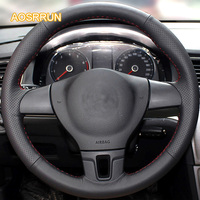 Sew On Genuine Leather Car Steering Wheel Cover Car Accessories For Volkswagen Golf 6 Mk6 VW