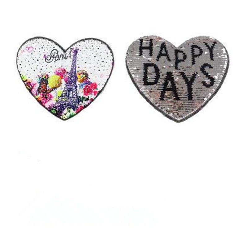 Women 21cm cartoon heart patches for clothing funny t shirts reversible sequins patch deal with it clothes for girls stickers