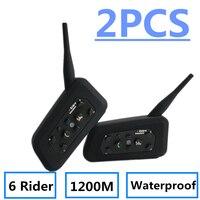 2018 New 6 Riders 2 Pcs R6 Pro Motorcycle Helmet Bluetooth Headset Intercom 1200M Wireless Intercomunicador