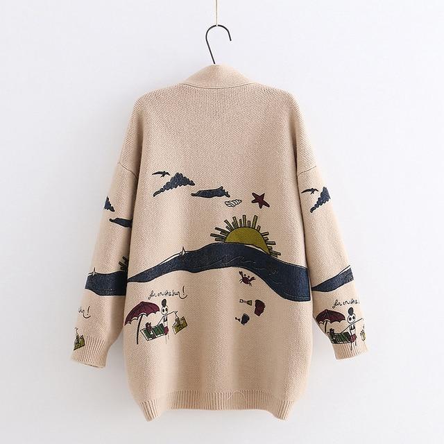 YoYiKamomo Spring Woman Sweater Knitting 2019 New Japanese Mori Girl V-neck Jacquard Cardigan Sweater Winter