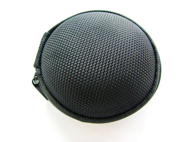 High quality black circle quality portable zipper heatshrinked bag earphones package earphones box storage bag