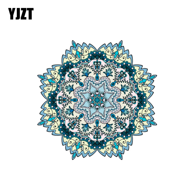 YJZT 9.6CM*9.6CM Car Accessories Mandala Ornament PVC Reflective Body Car Sticker 6-2248