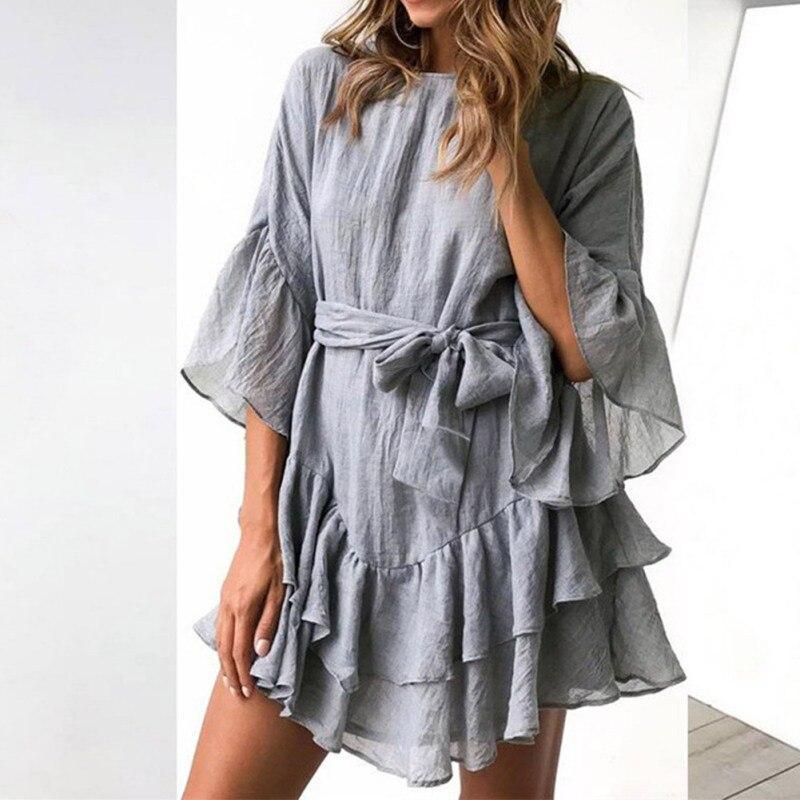 Модное повседневное мини-платье с неровным низом, летнее однотонное платье с длинными рукавами и круглым вырезом, однотонные ленты, женские...