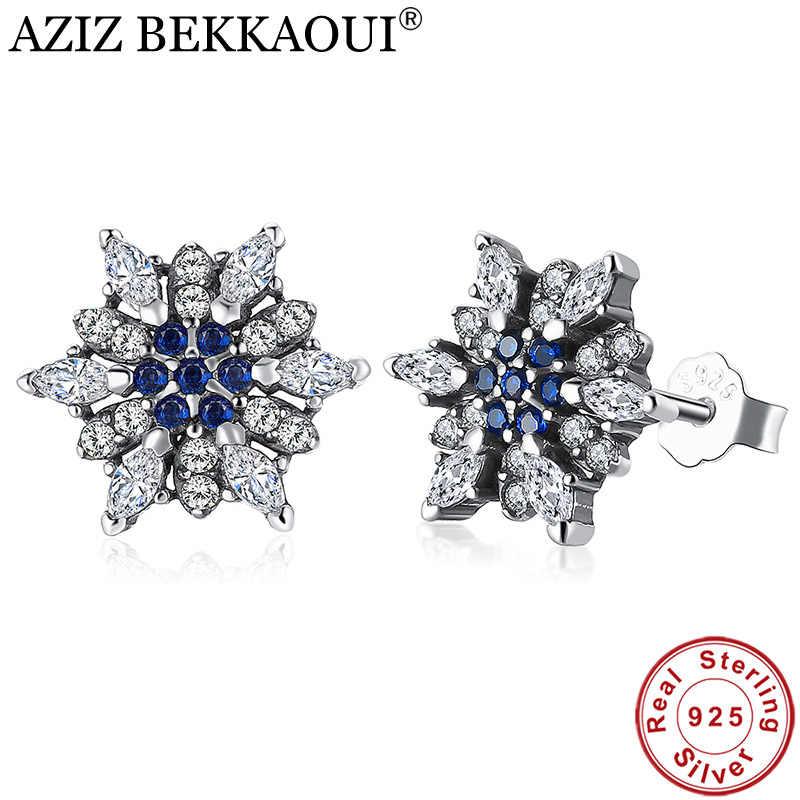132b94c6c AZIZ BEKKAOUI 925 Sterling Silver Blue Crystals Snowflake Stud Earrings for  Women Clear CZ Silver Earrings